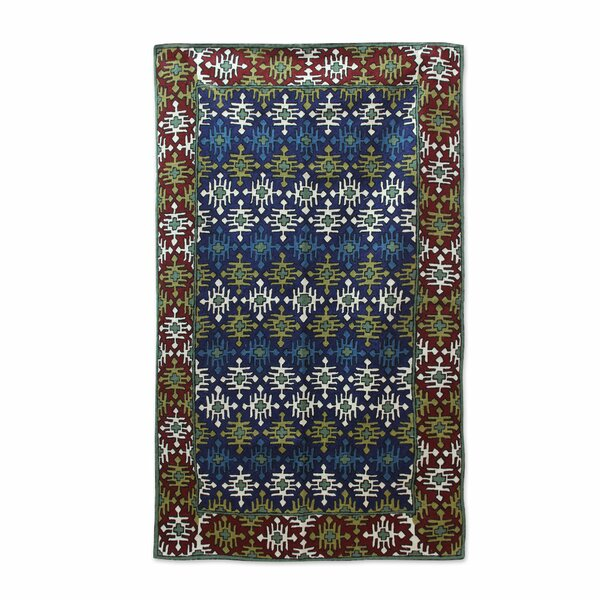 Rankins Tribal Diamonds Hand-Woven Wool Green/Red/Teal Area Rug by Bloomsbury Market