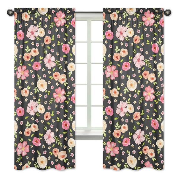 Watercolor Floral Semi-Sheer Rod Pocket Curtain Panels (Set of 2) by Sweet Jojo Designs