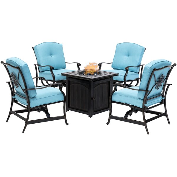 Carleton 5 Piece Multiple Chairs Seating Group with Cushions by Fleur De Lis Living