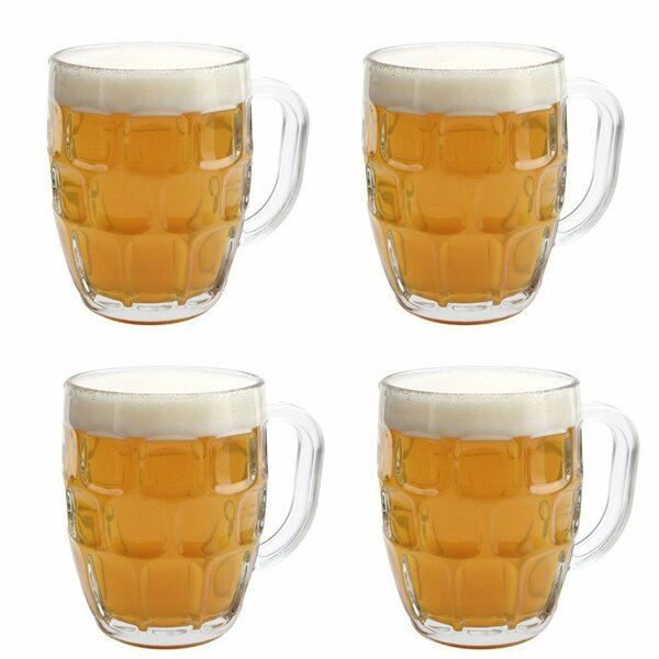Gillian Dimple Pub Stein Tankard 16 Oz. Pint Glass (Set of 4) by Winston Porter
