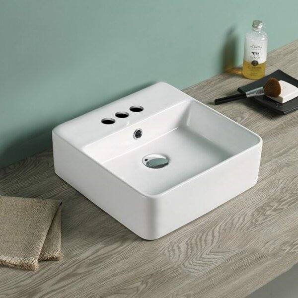 Above Counter Center Drilling Ceramic Square Vessel Bathroom Sink with Overflow