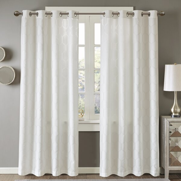 Dorian Geometric Semi-Sheer Grommet Single Curtain Panel by Langley Street