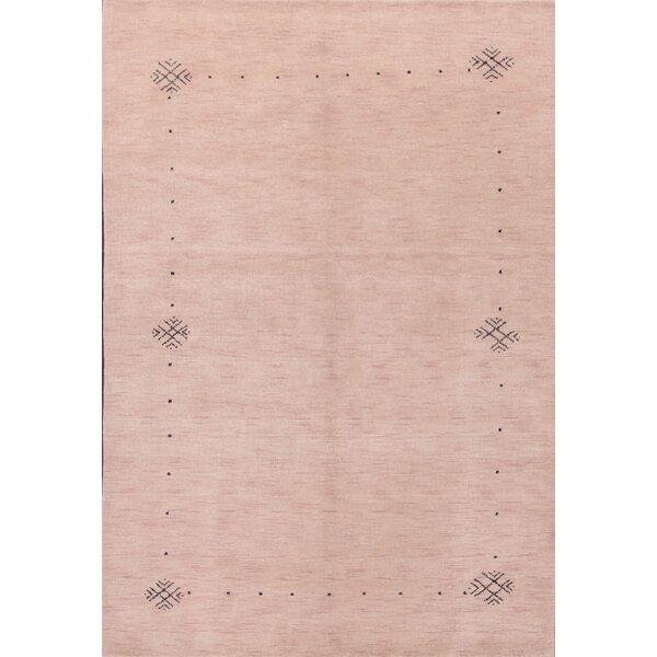 Fessenden Gabbeh Oriental Hand-Knotted Wool Beige/Ivory Area Rug by Bloomsbury Market