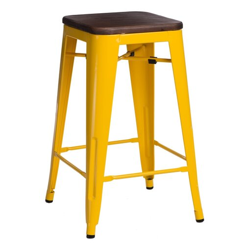 Barstuhl Jerome Williston Forge Farbe (Gestell): Gelb  Sitzfarbe: Walnuss  Sitzhöhe: 65 cm   Küche und Esszimmer > Bar-Möbel > Barhocker   Williston Forge