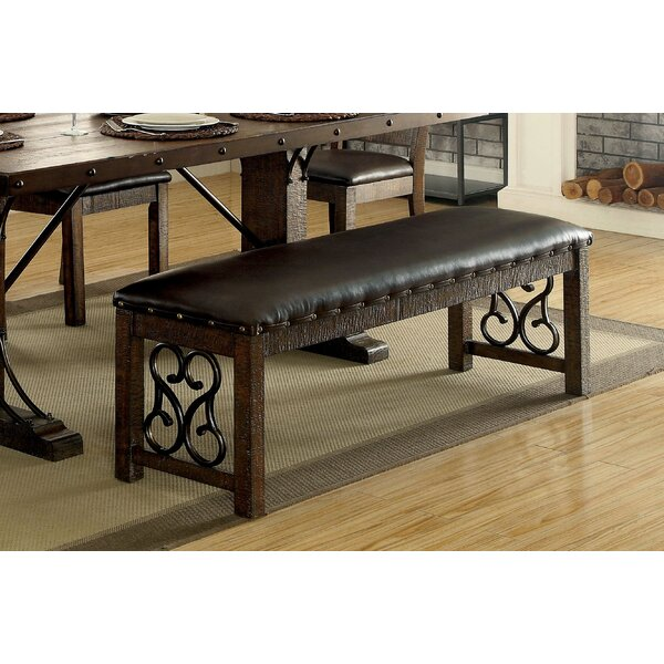 Barrview Traditional Wood and Faux Leather Bench by Fleur De Lis Living