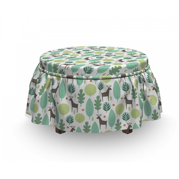 Forest And Deer With Heart Ottoman Slipcover (Set Of 2) By East Urban Home