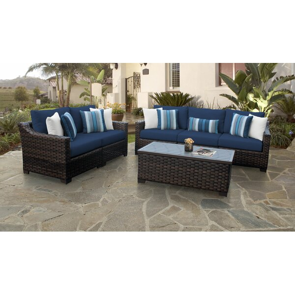 River Brook 6 Piece Outdoor Wicker Patio Furniture Set 06m by kathy ireland Homes & Gardens by TK Classics