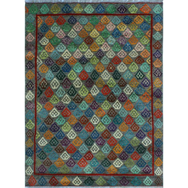 One-of-a-Kind Millender Takiyah Hand-Knotted Wool Blue Area Rug by Bloomsbury Market