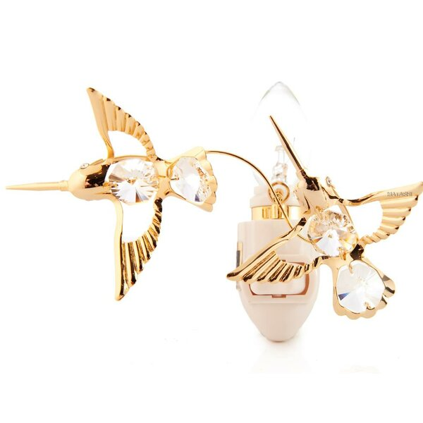 24K Gold Plated Twin Hummingbirds Night Light by Matashi Crystal