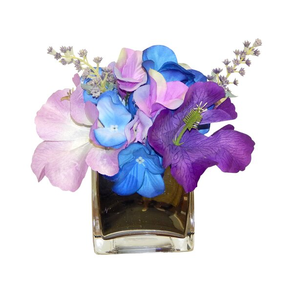 Hibiscus and Hydrangea Centerpiece in Vase by Wrought Studio