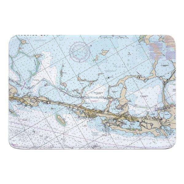 Nautical Chart Key Largo FL Rectangle Memory Foam Non-Slip Bath Rug