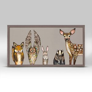 'Forest Animals' by Eli Halpin Framed Print of Painting in Taupe by GreenBox Art