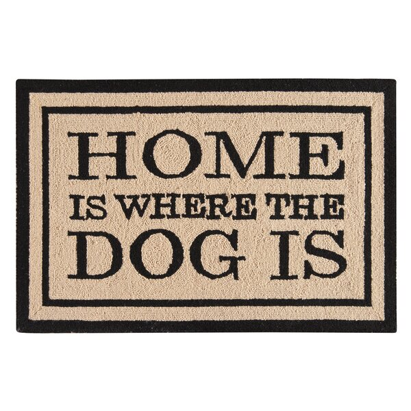 Horstman Home Is Where the Dog Is Wool Tan Area Rug by Winston Porter