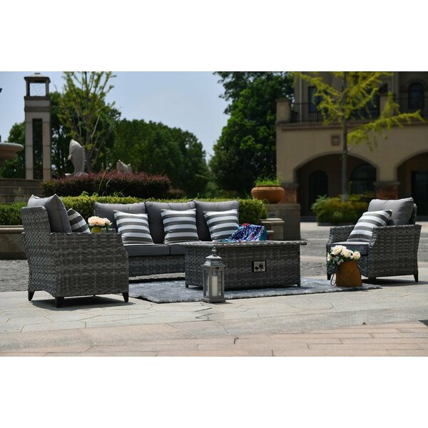 Cabello 5 Piece Rattan Sofa Seating Group with Cushions