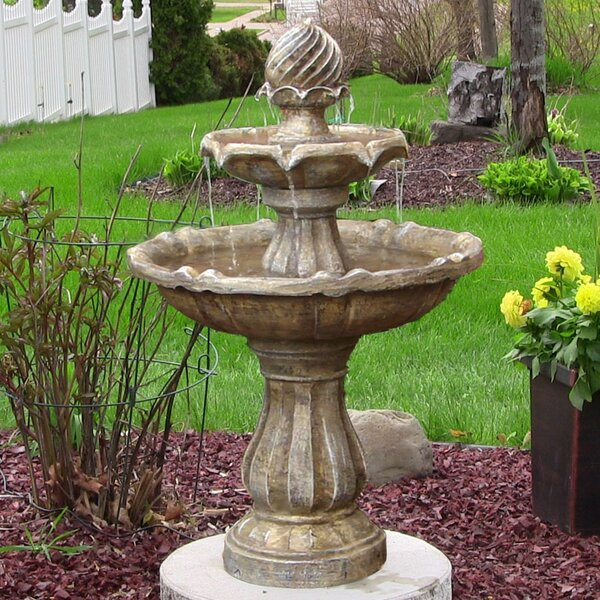 Waymon Resin Solar 2 Tier on Demand Outdoor Water Fountain by Darby Home Co