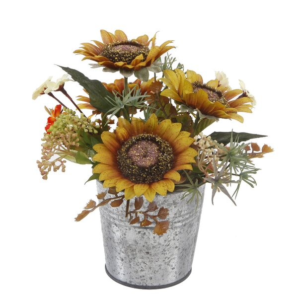 8 Tall Sunflowers Mix Floral Arrangement in Tin Pot by August Grove