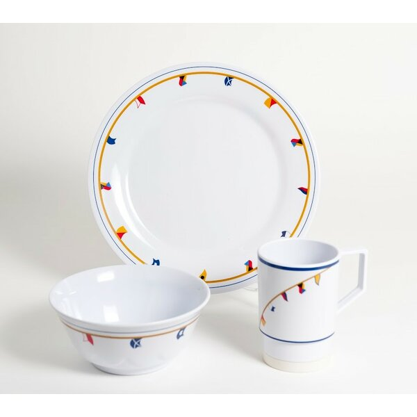 Decorated Flags Melamine 12 Piece Dinnerware Set, Service for 4 by Galleyware Company