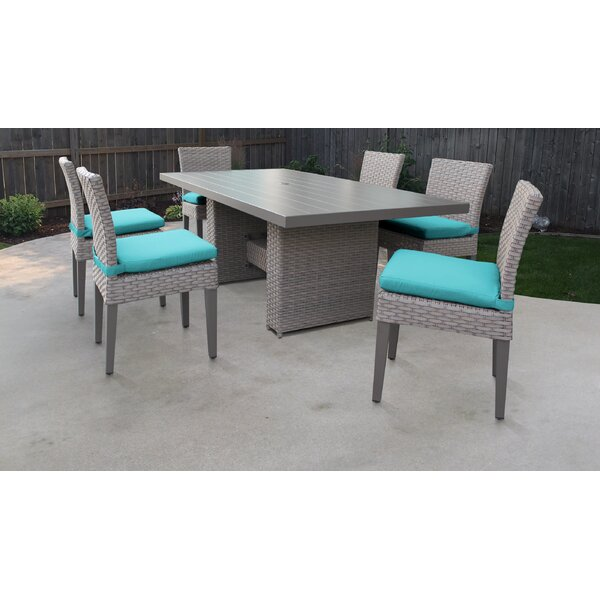 Florence 7 Piece Outdoor Patio Dining Set with Cushions by TK Classics