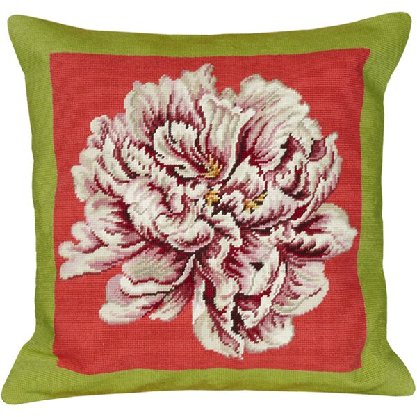 Floral Peony Needlepoint Wool Throw Pillow by 123 Creations