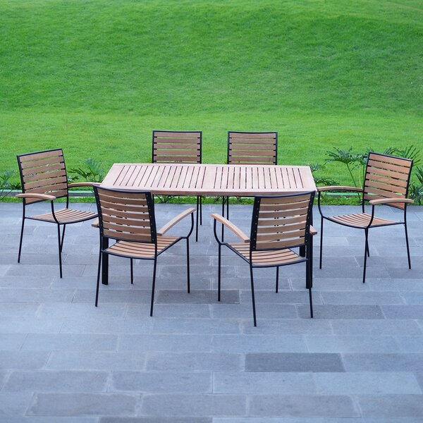 Clary Patio 7 Piece Teak Dining Set by Rosecliff Heights