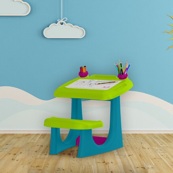 Sit and Draw 21.85 W Art Desk with Wide Bench Seat and Footrest by Keter