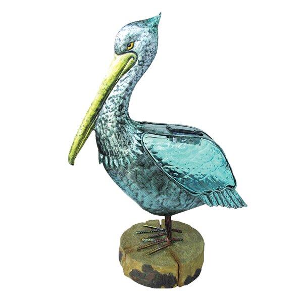 Bucher Solar Metal Pelican on Polystone Base Figurine by Longshore Tides