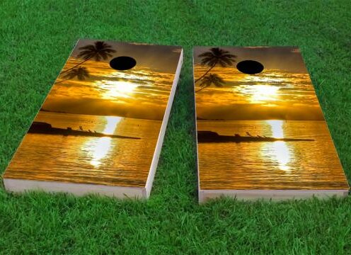Sea Sunset Cornhole Game (Set of 2) by Custom Cornhole Boards