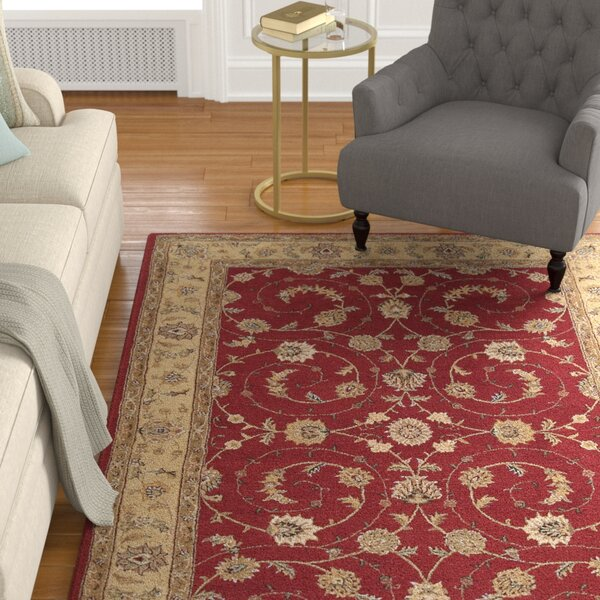 Lundeen Red Floral Area Rug by Astoria Grand