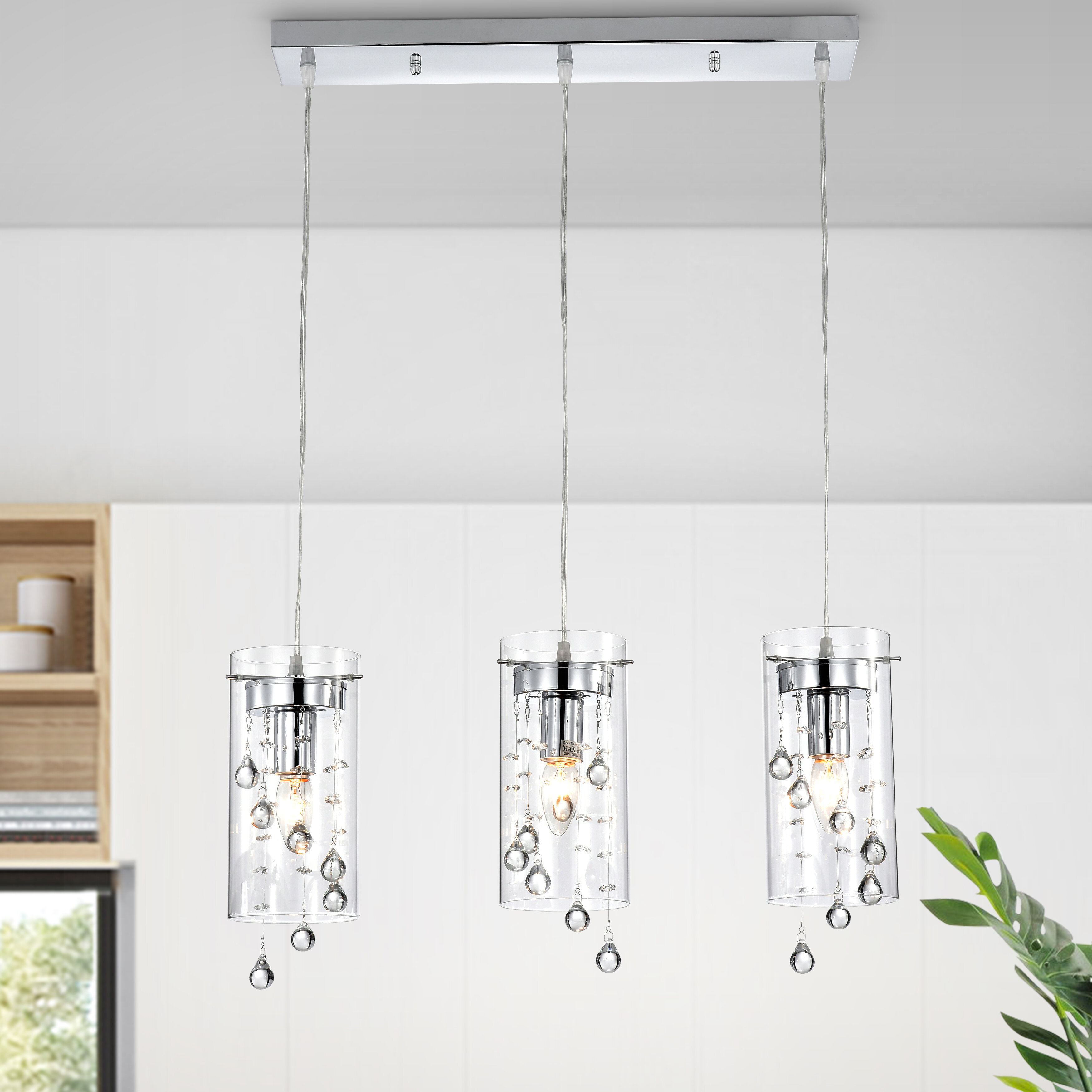 Isabel 8 - Light Kitchen Island Cylinder Pendant with Crystal Accents