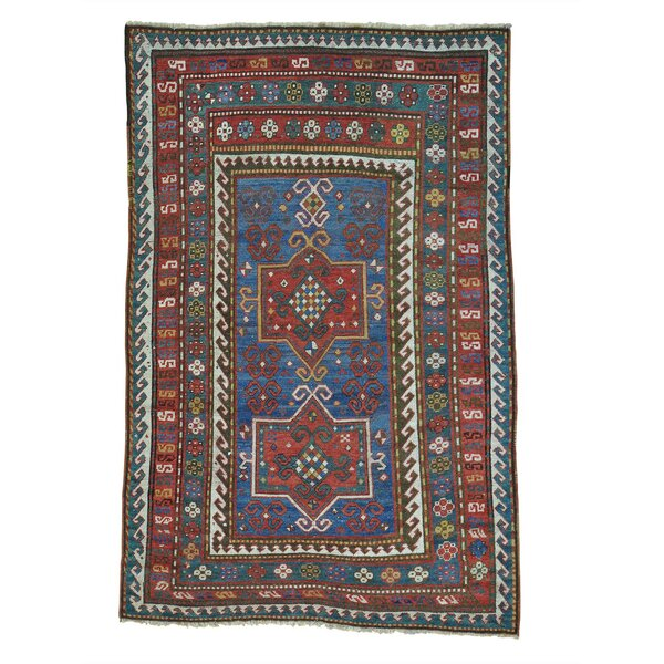 One-of-a-Kind Halloway Caucasian Karachopf Exc Cond Hand-Knotted Blue Area Rug by World Menagerie