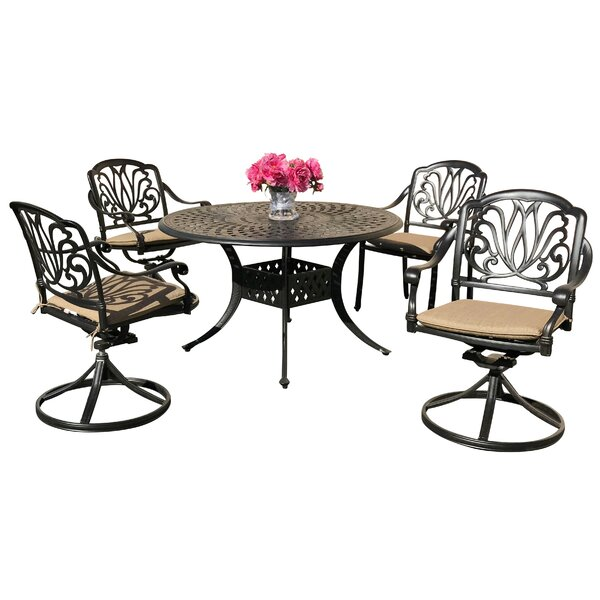 Nina 5 Piece Sunbrella Dining Set with Sunbrella Cushions