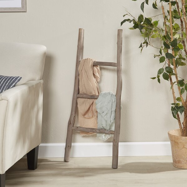 Wood White Washed 3.5 ft Decorative Ladder by August Grove
