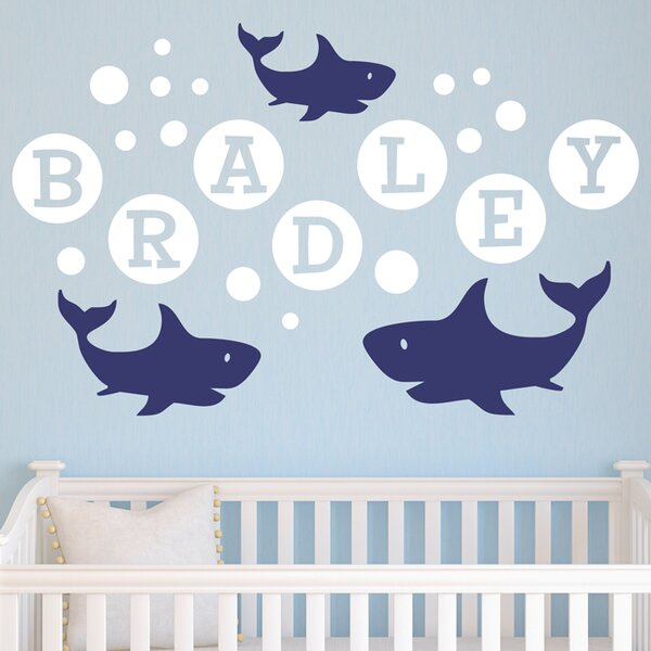 Shark Bubbles Personalized Wall Decal by Alphabet Garden Designs