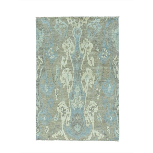 One-of-a-Kind Gammage Ikat Tribal Oriental Hand-Knotted Gray/Blue Area Rug by World Menagerie
