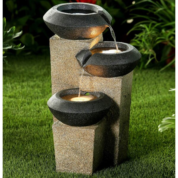 Resin Three-Tiered Modern-Style Illuminated Water Fountain with LED Light by Jeco Inc.