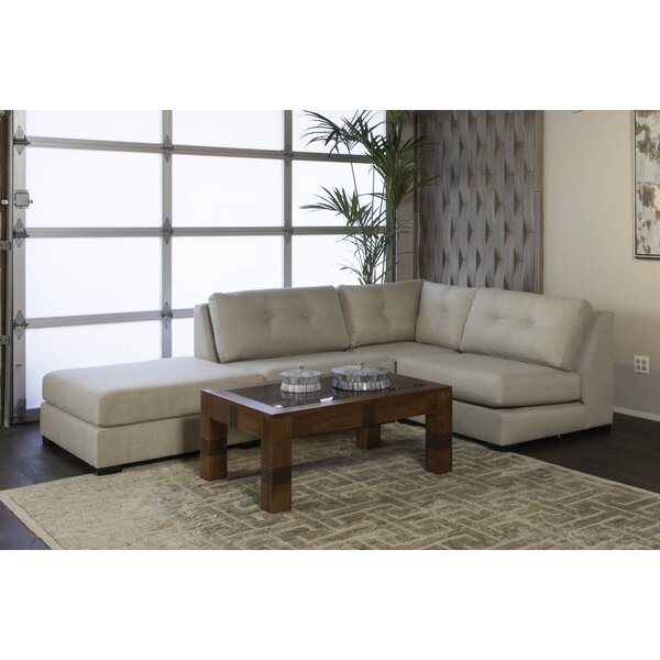 Glaude Buttoned L-Shape Modular Sectional With Ottoman By Brayden Studio
