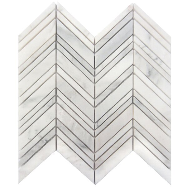 Chevron 1 x 4 Marble Mosaic Tile in Oriental White by Luxsurface