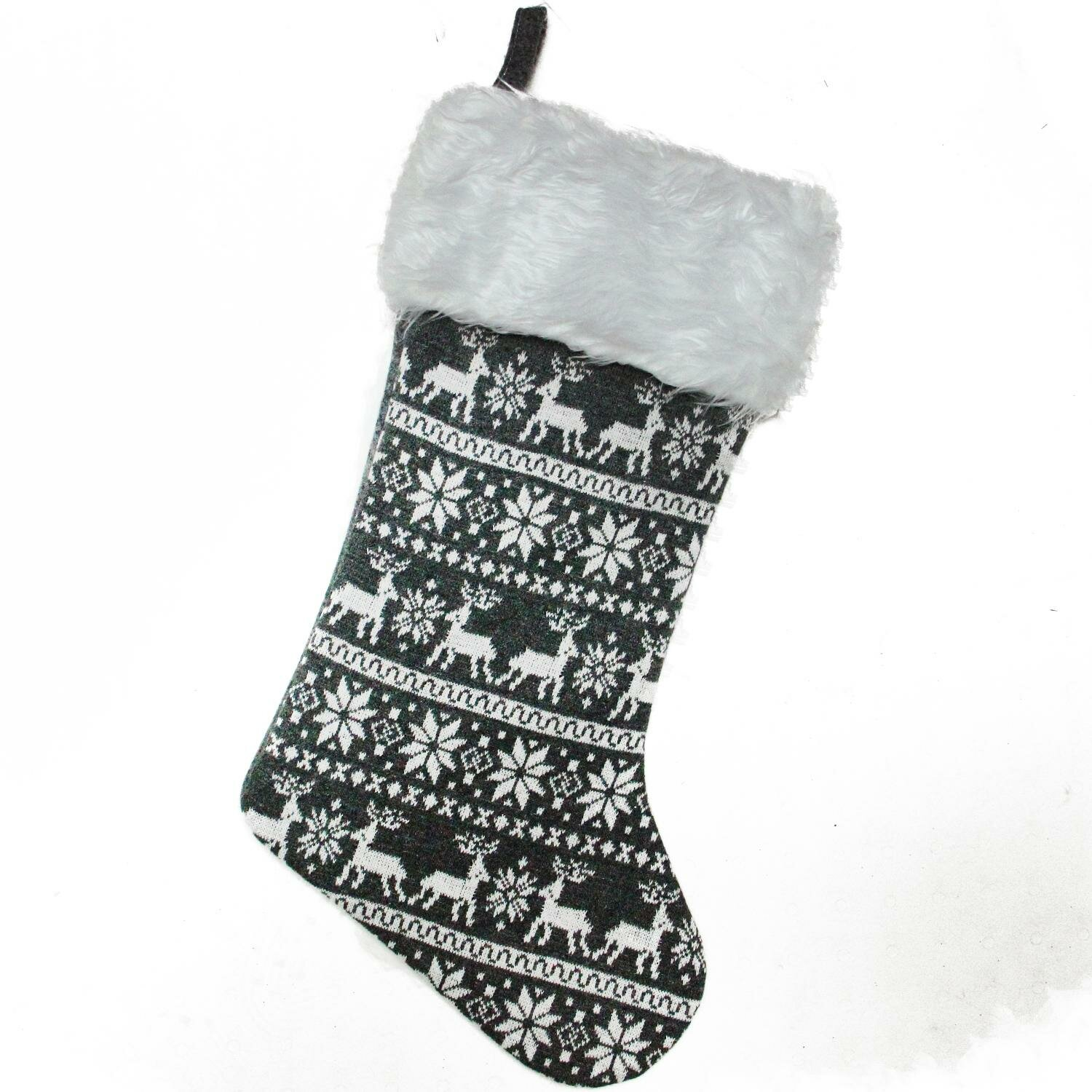 The Holiday Aisle Reindeer and Snowflake Knit Christmas Stocking ...