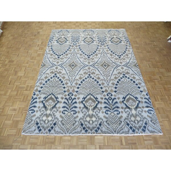 One-of-a-Kind Railsback Ikat Hand-Knotted Silk Beige Area Rug by Astoria Grand