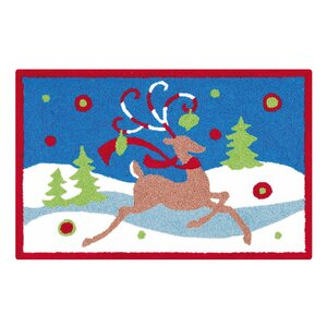 Reindeer Christmas Blue Area Rug