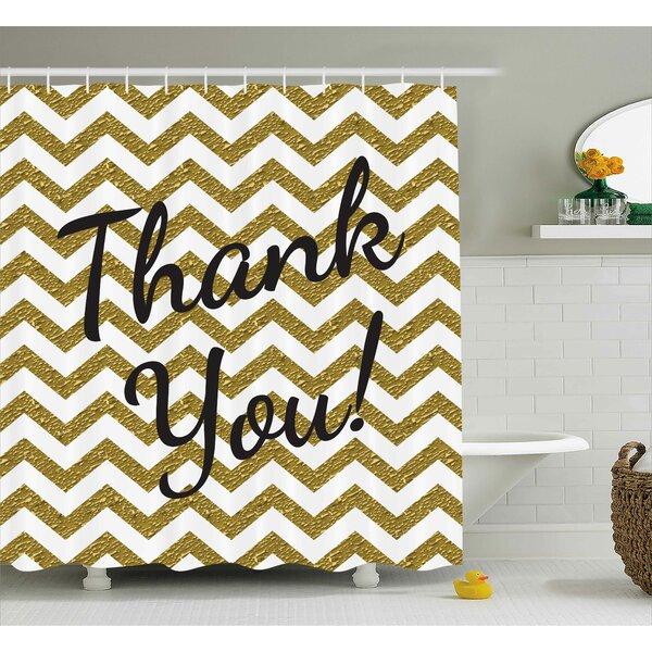 Gustavo Thank You Decor ZigZag Shower Curtain by Ebern Designs