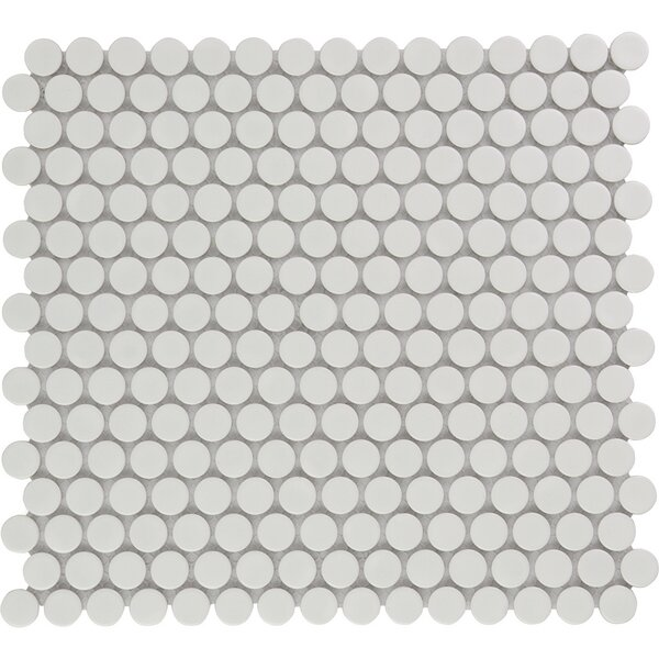 Venice Penny Glossy 0.75 x 0.75 Porcelain Mosaic Tile in Bright White by The Mosaic Factory
