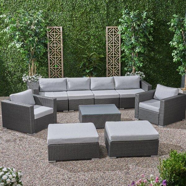 Roxann Outdoor 6 Seater Wicker Modular Sectional Sofa Set with Sunbrella Cushions Brayden Studio W002380062