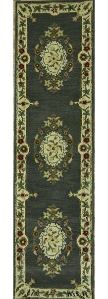 Naber Oriental Hand-Knotted Wool Beige/Green Area Rug