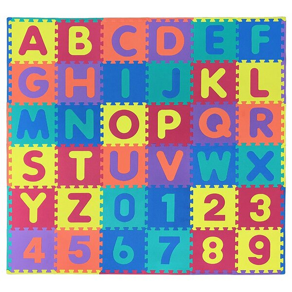 Alphabet and Numbers Interlocking Puzzly Foam Play Mat Tile by Ottomanson