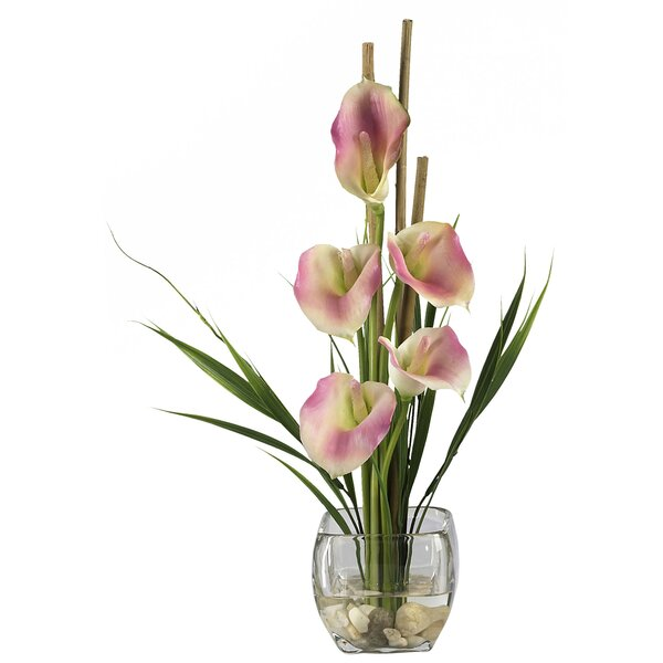 Liquid Illusion Silk Calla Lily with Vase by Nearly Natural