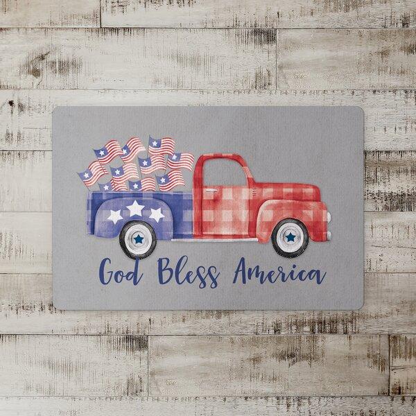 Coraima God Bless America Kitchen Mat
