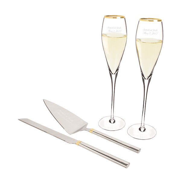 4 Piece Champagne Flutes and Cake Serving Set by Cathys Concepts