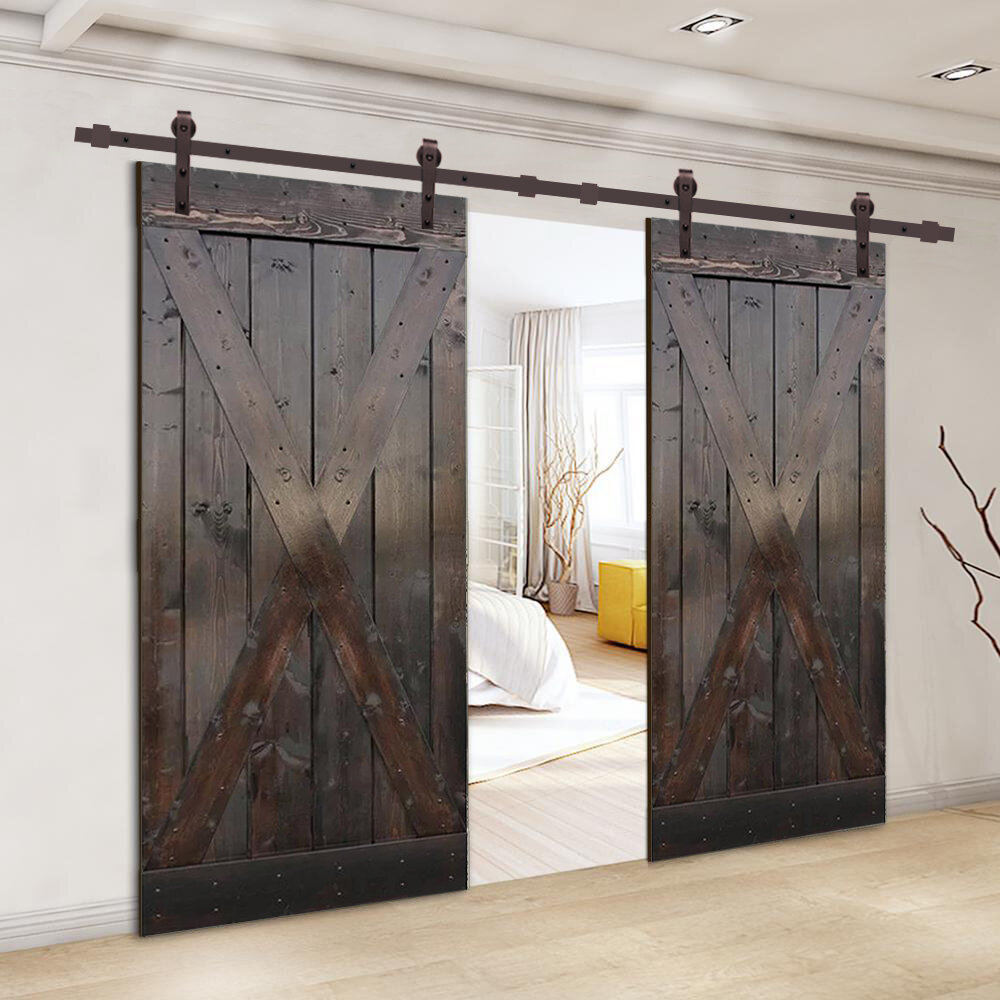 Calhome Paneled Wood Primed Room Divider Barn Door With Installation Hardware Kit Reviews Wayfair