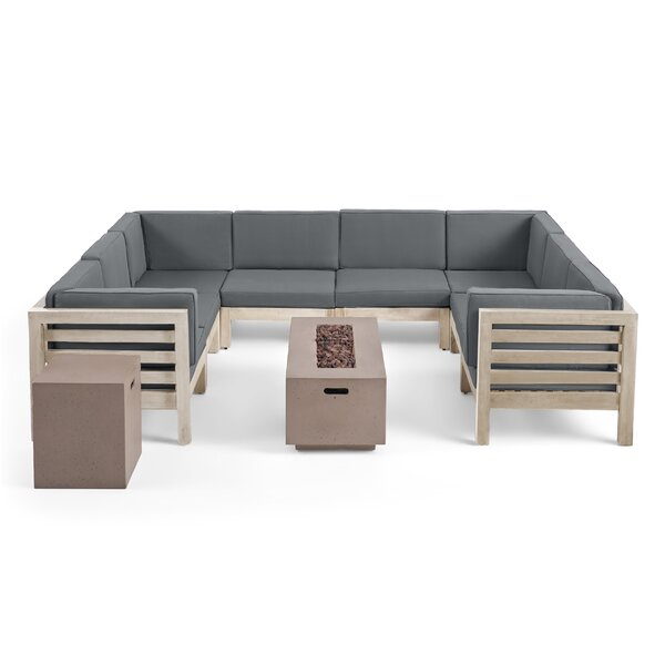 Pelletier 10 Piece Sectional Seating Group with Cushions by Breakwater Bay Breakwater Bay